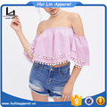 fashion clothing vertical striped pom pom trims women off shoulder tops
