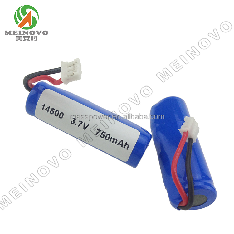 14500 lithium battery li ion rechargeable battery 3.7v 750mah