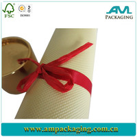 Embossing paper matte lamination rigid luxury coffee pack cylinder box with ribbon