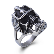 Gothic Fashion Casted Solid Mens Punk Helmet Ring Indian Antique Military Skull Ring