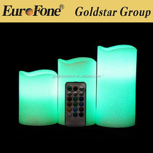 fashional remote control led candle with multi colour changing function for decorative