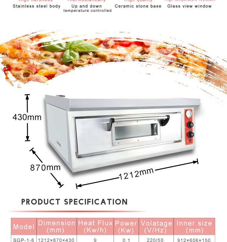 SGP-1-6 Stainless Steel Gas Pizza Oven with Ceramic Stone from Guangzhou