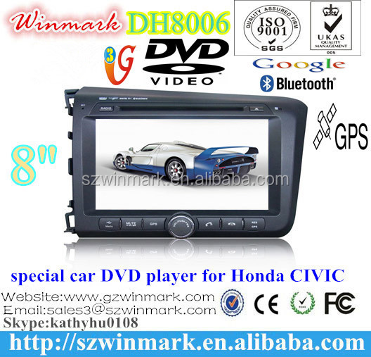 8'' 2din car DVD player for Honda CIVIC 2012 left 2 din with HD display bluetooth GPS Ipod USB/SD Radio TV Rear camera 3G DH8006