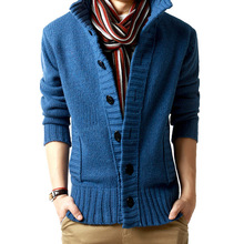 Blue Single Breasted Mens Sweaters Button Pockets Men Cardianes Size M-2XL Sweaters Men