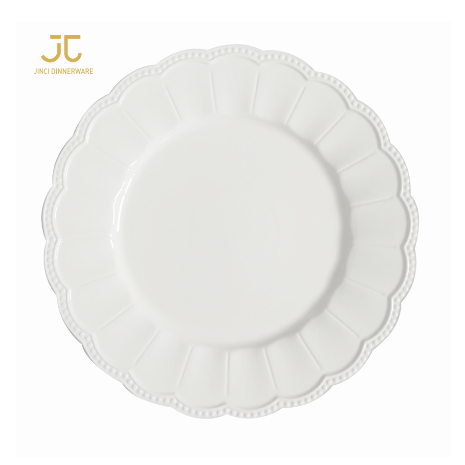 JC top quality vintage white embossed food safe ceramic <strong>natural</strong> dinnerware