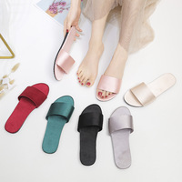 wedding slippers shoes home slippers women's satin simulation silk indoor non-slip satin slippers