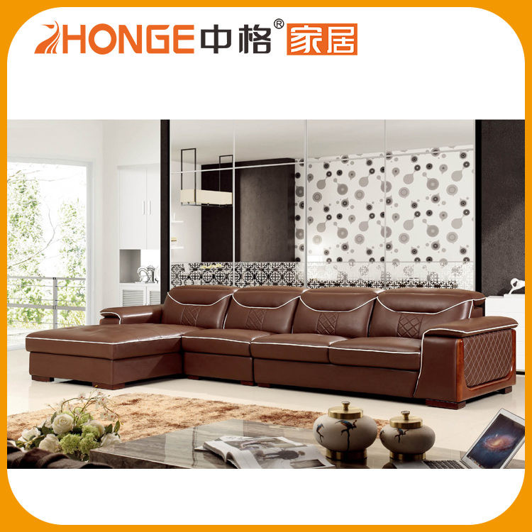 2016 Leisure Foshan Furniture Thick Extra Long Cheap Leather Sofa