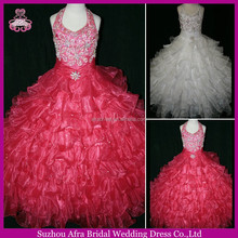 SD751 halter organza hot pink pageant gown flower girl dresses for 7 year olds