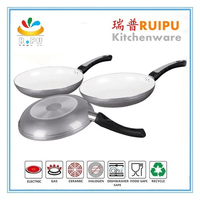 Ceramic coating aluminum 3pcs golden kitchen cookware/cookware accessory/porcelain enamel cookware sets