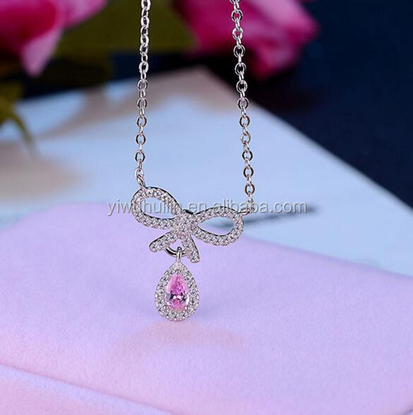YFY120 Yiwu Huilin Jewelry Pink big crystal cute bow tie petite chain lady silver necklace