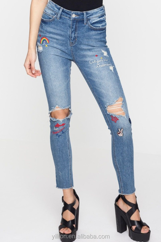 Stretch Cotton Blue Badge raw hem ripped Low Waist Denim Jeans
