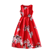 Women Autumn Red Wintersweet Floral Printing Dress Sleeveless Sexy Pleated A-line Party High Waist Tank Vest Dresses Robe Longu