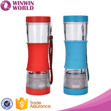Water Bottle,Colored Silicone Sleeve Tea Infuser/Filter/Strainer 500ml Plastic Water Bottle