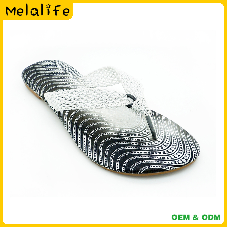 New design mesh upper TPR and PU sole ladies house slippers flip flops