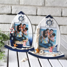New Mediterranean Marine Style Swing Wooden Sailing Creative Photo Frame 5' Home Decoration- Sailboat/Rudder/Starfish Home Goods