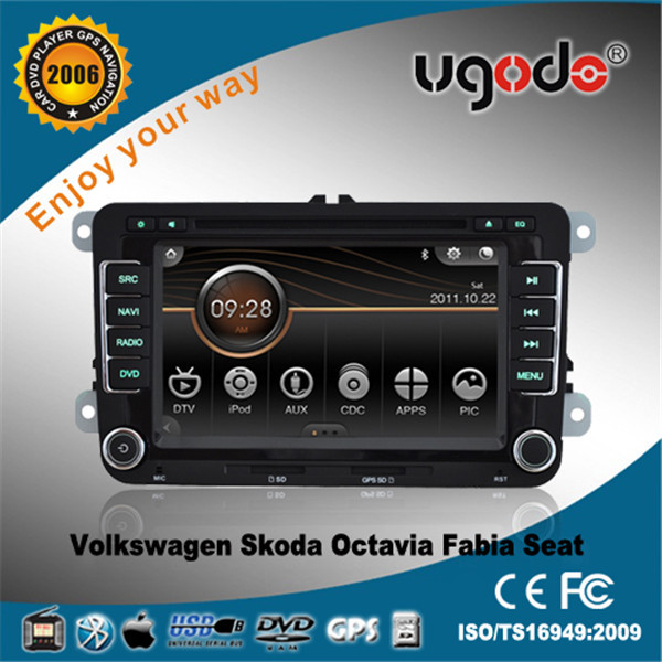 7 inch two din touch screen car dvd player for skoda octavia Volkswagen with canbus GPS(AD-6016)