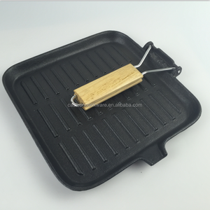 Promotional BBQ Cast Iron Square Grill Pan With Wooden Handle
