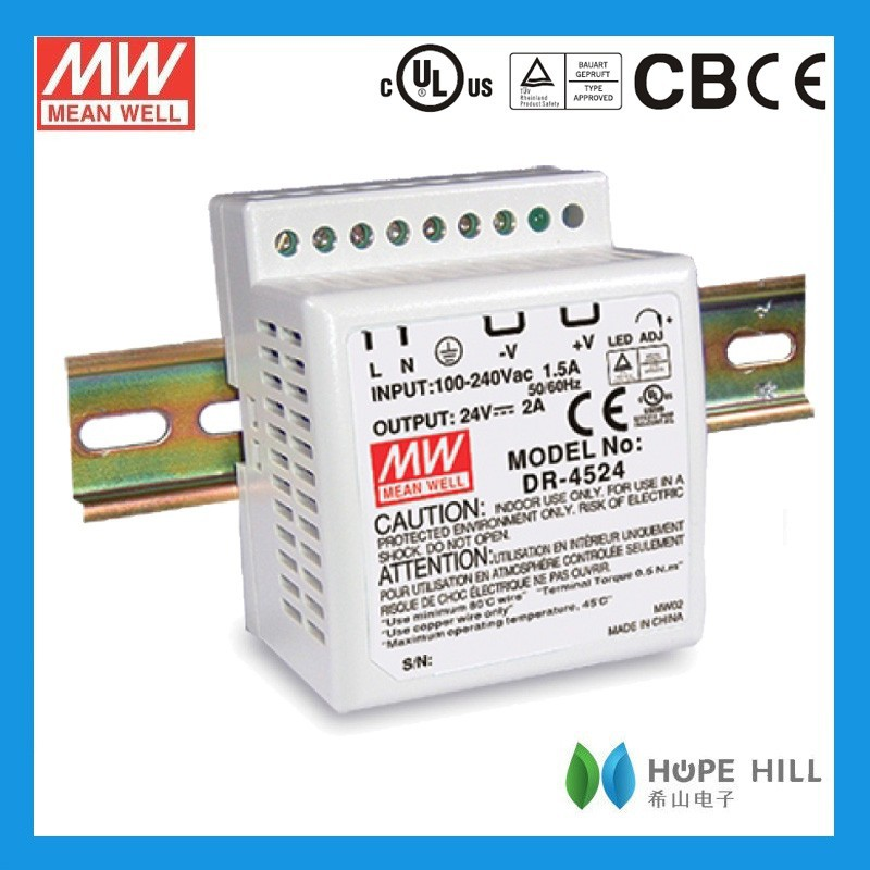 Original Meanwell DR-75-24 75W Single Output Industrial DIN Rail Power Supply