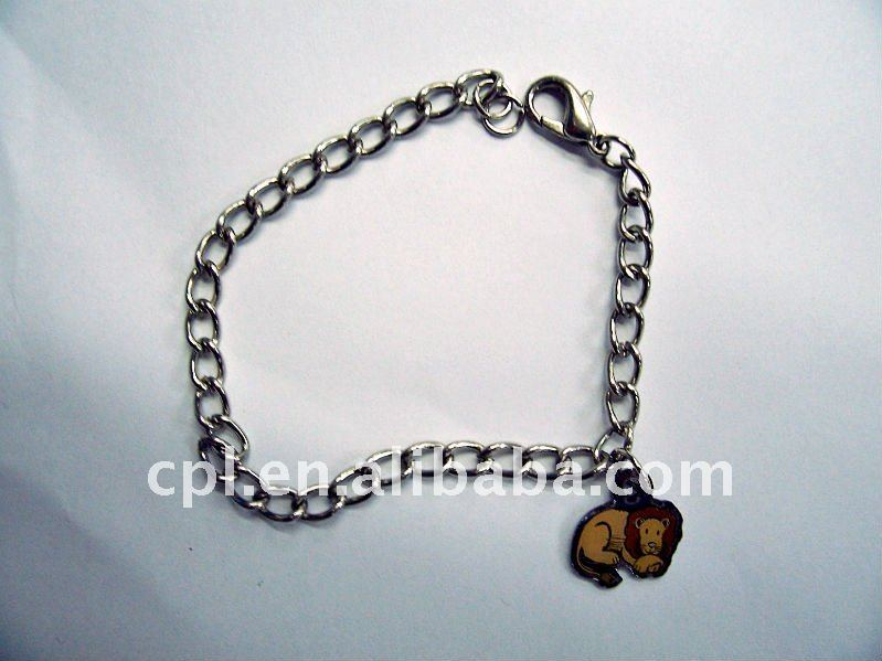 Printed lion charms nickel free plated iron bracelet