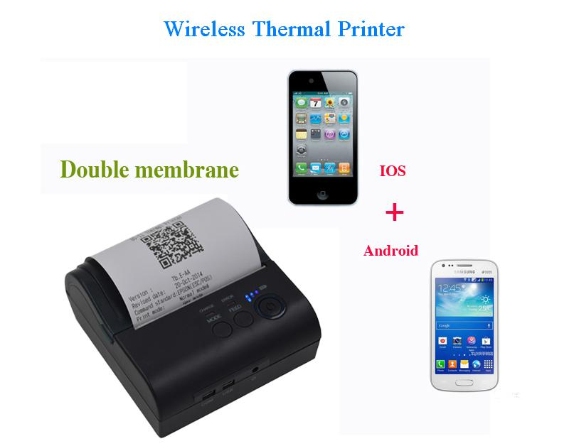 Portable 58mm 80mm thermal receipt printer mini wireless non wire ticket used for fast food stores