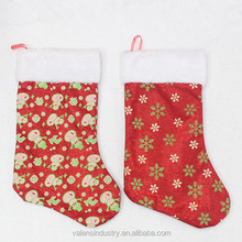 Yiwu China OEM Wholesale Fashion Colorful Design Velvet Santa Claus Christmas Stocking Decoration With Snowman and Snowflowers