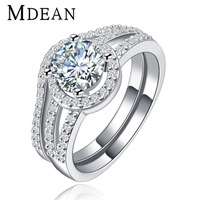 MDEAN White gold plated vintage halo rings For Women CZ diamond wedding ring sets fashion engagement free shipping MSR128