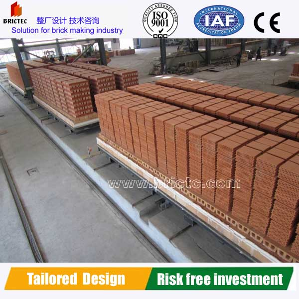 Red clay brick factory with double stacking firing process