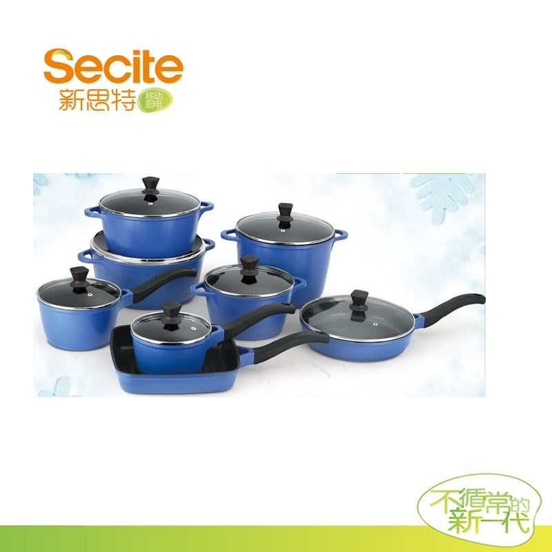 Blue aluminum die casting new style cookware sets kitchen for Kitchen set aluminium royal