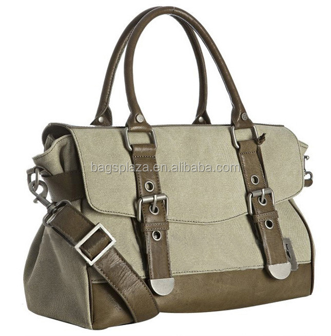 Designer leather canvas men bags fashion canvas leather breifcase bags