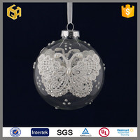 Butterfly stuck on clear glass Christmas balls ornament