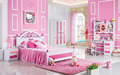 2017 New style Modern kids pink bedroom set was made by E1 MDF board wood for children furniture