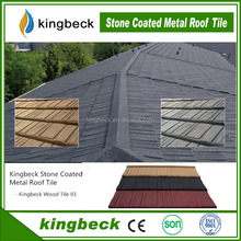 mix color wooden stone coated meatal roof tile