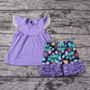 Purple Fluffy Lace Sleeves Baby Girl Clothes Set Children Designs Baby Wholesale Clothing Karachi