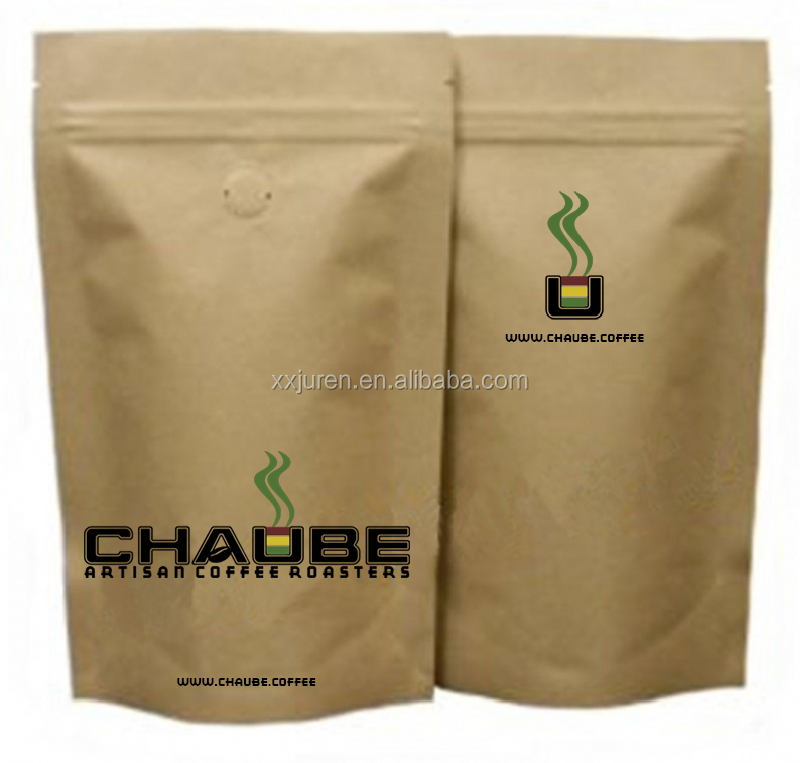 stand up kraft paper aluminum laminated foil bag with zipper