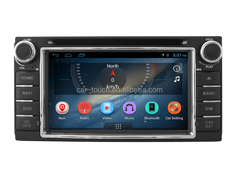 6.2 inch double din car dvd navigation player for toyota universal android 4.4 original system free backup camera