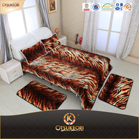 1 ply 5pcs set animal blanket,cheap bed sheet sets,luxury mink fleece bedding set