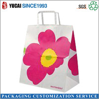 Flower white kraft paper handbags