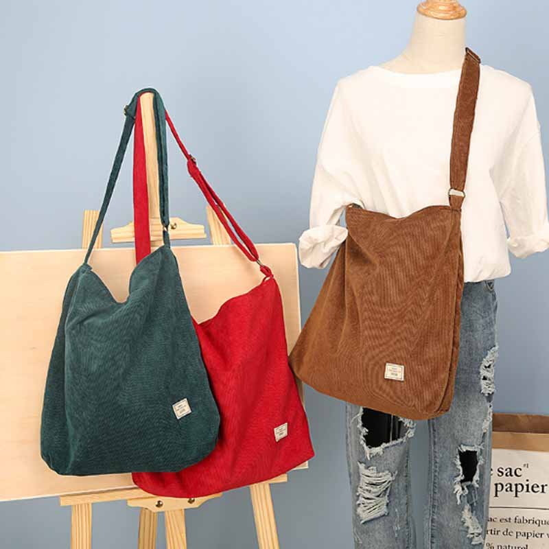 Japanese school student leisure vintage corduroy canvas two sided shoulder bag