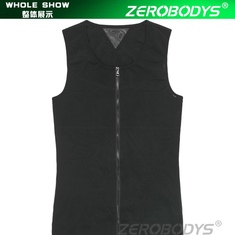388 BK ZEROBODYS Powerful 180g Powernet Zipper With Hook Eye Closure Vest Undershirt Body Shaper Men Body Girdles Men