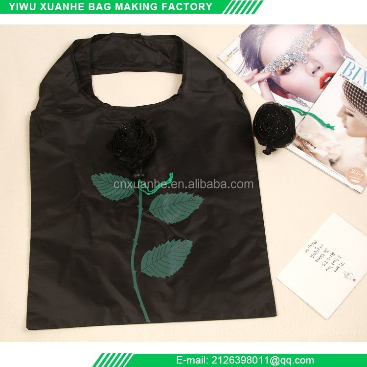 Rose shaped polyester reusalbe folding black shopping bag