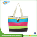 High Quality Lady Stripe Printed Tote Canvas Bag with Zipper Closure