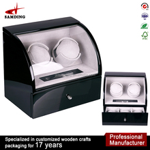 Volta Automatic Double Dual 2 Watch Winder Box with Rotating Base Carbon Fiber