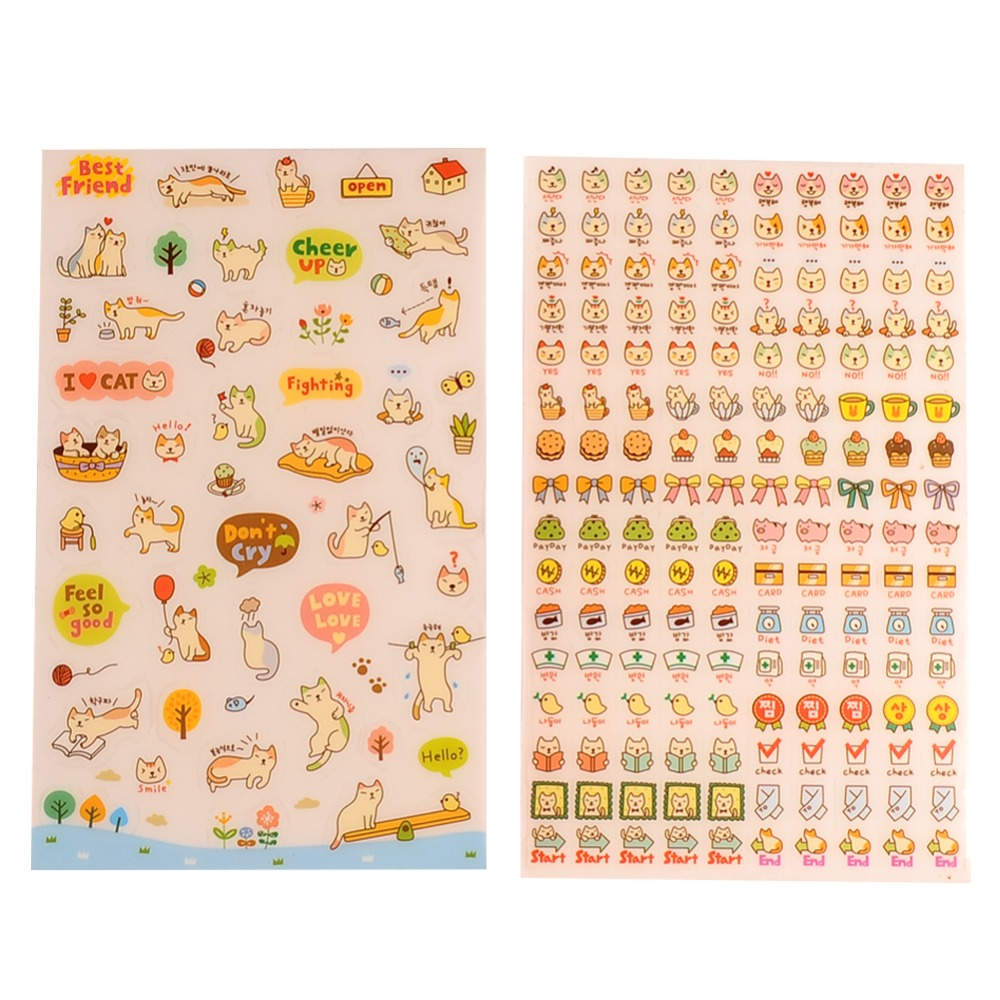 Lovely 6 Sheet Cat Paper Stickers for Diary Scrapbook Wall Photo Decor Skin DIY*cartoon stickers