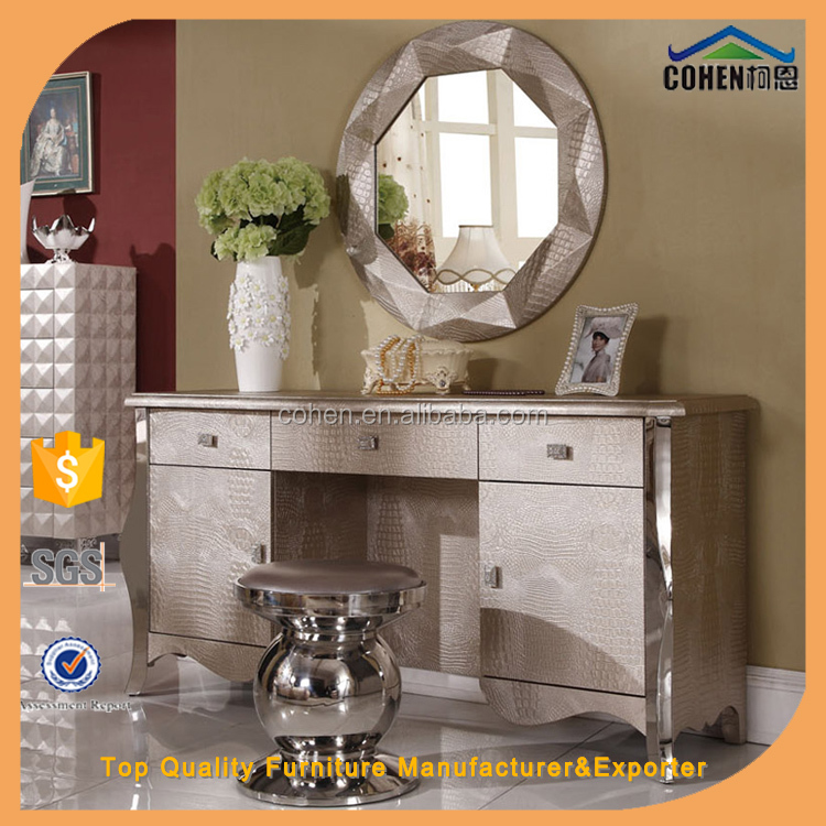 modern luxury bedroom furniture dressing table with mirror and stool S109