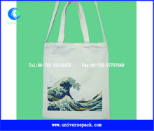 Printed Natural Shopping Canvas Tote Bags With Long Handle Shoulder Bag