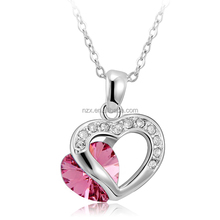 OUXI mujer Follow Love pendant/made with crystal jewelry/alloy rhodium plated necklace 10623 joyeria collar