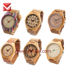 hot sale bamboo watches with full grain leather new product 2017