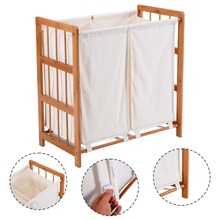 White dirty clothes storage wooden double bag laundry hamper