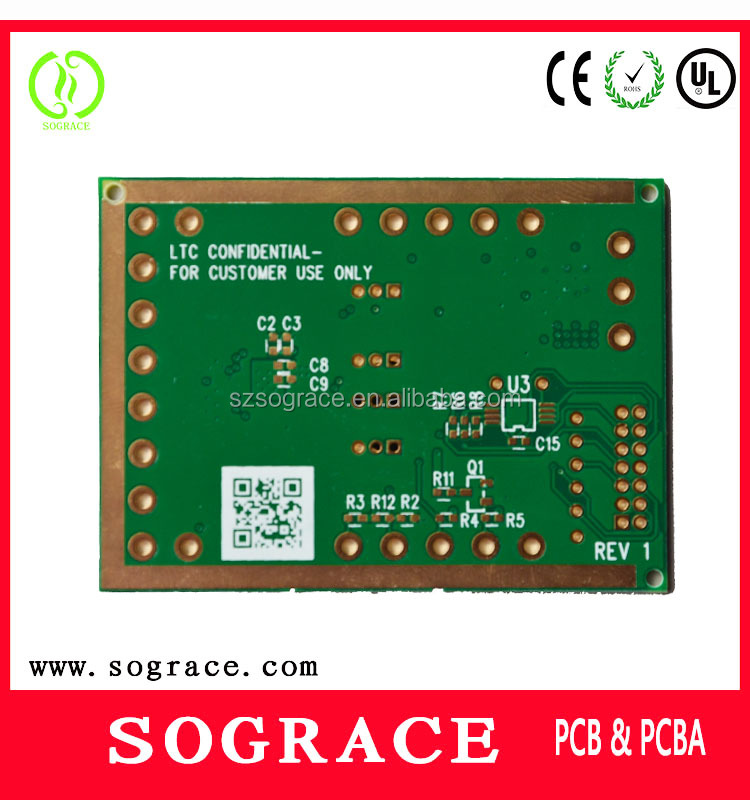 MC PCBA pcb board design with green solder mask