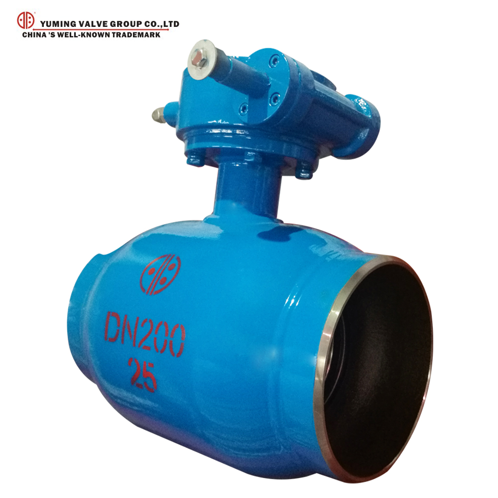 Chinese manufacturer fully welded ball valve with Gearbox